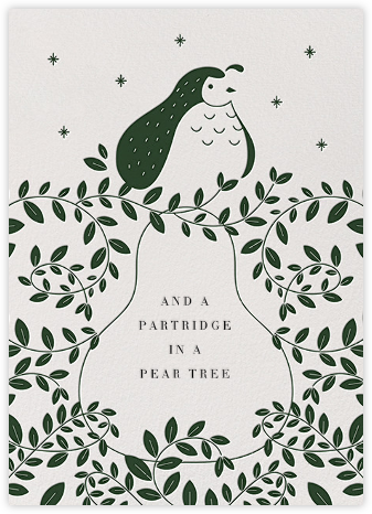Partridge and Pear - Hunter Green - Paperless Post -