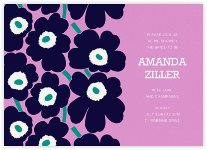 Unikko (Horizontal) - Navy/Lilac - Marimekko - Bridal shower invitations