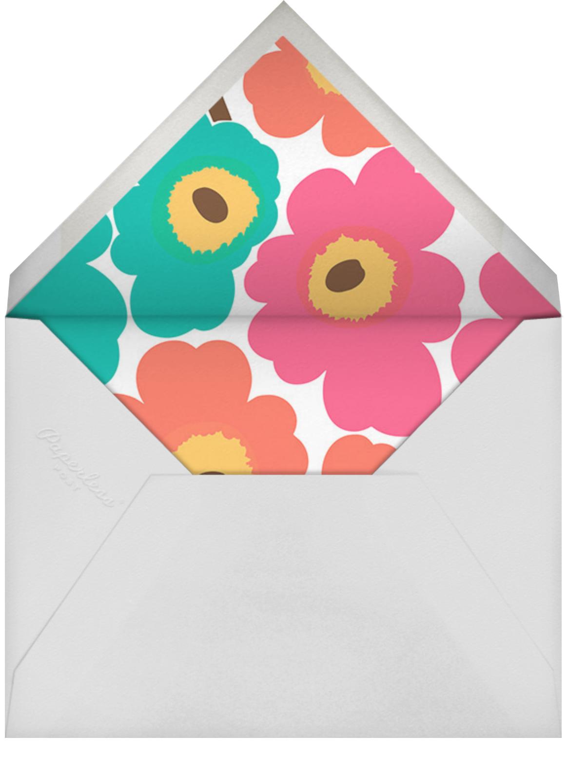Unikko (Square) - Pink/Teal - Marimekko - Kids' birthday - envelope back
