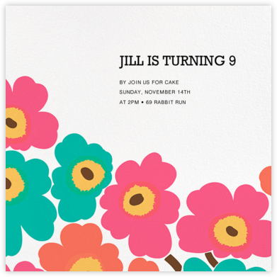 Unikko (Square) - Pink/Teal - Marimekko - Online Kids' Birthday Invitations