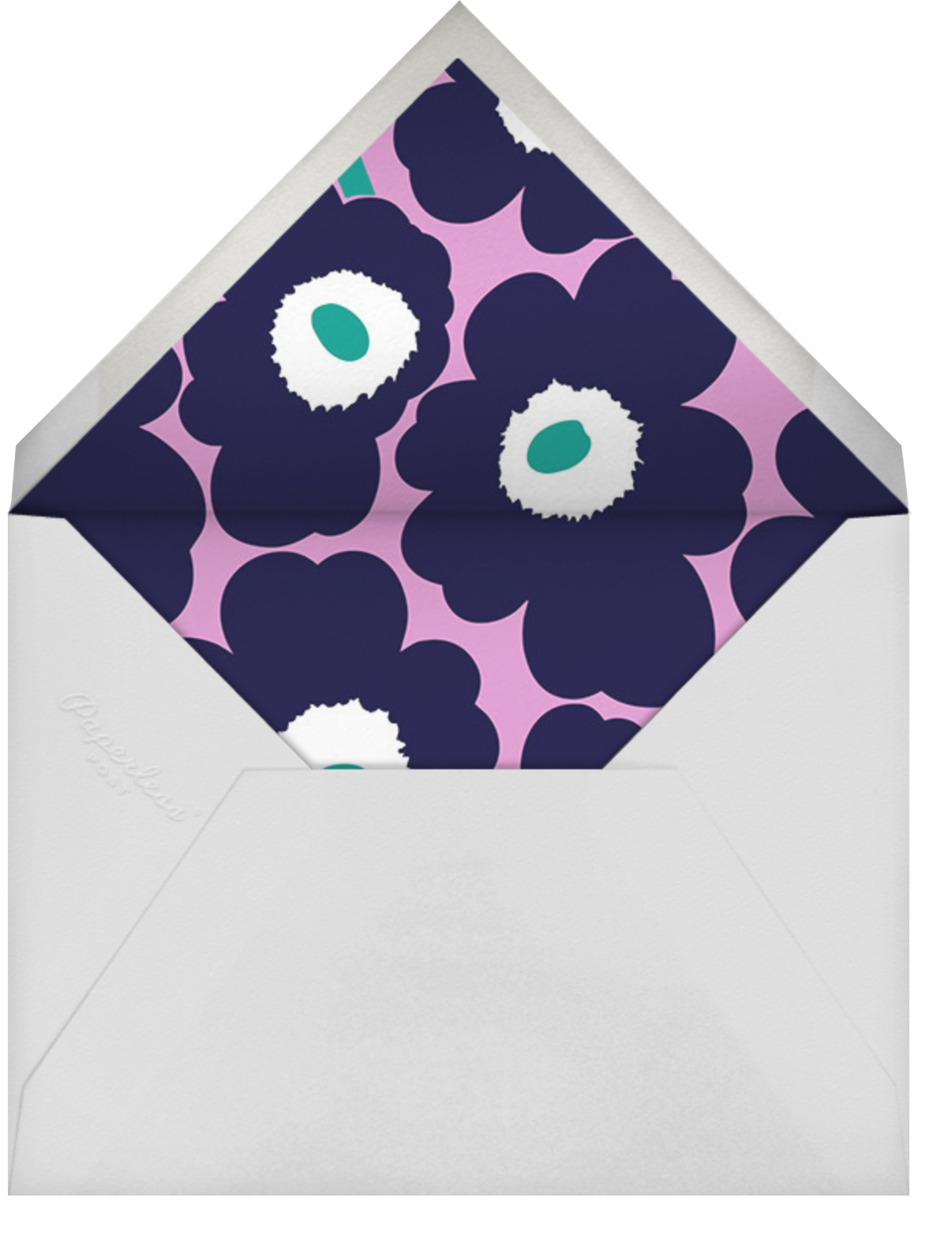 Unikko (Tall) - Navy/Lilac - Marimekko - Adult birthday - envelope back