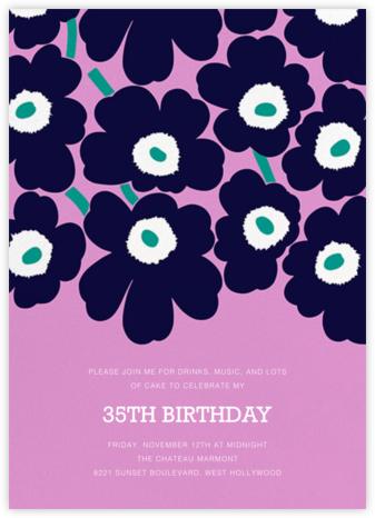 Unikko (Tall) - Navy/Lilac - Marimekko - Adult Birthday Invitations