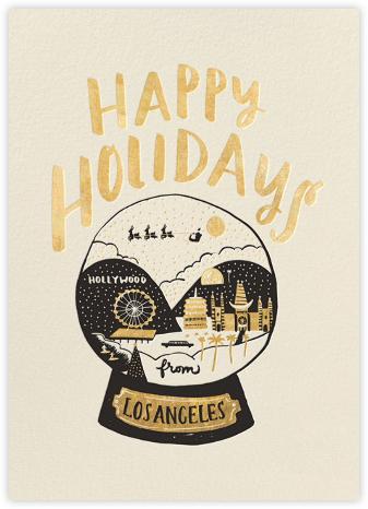 Los Angeles Snow Globe - Gold - Hello!Lucky - Beach Christmas Cards