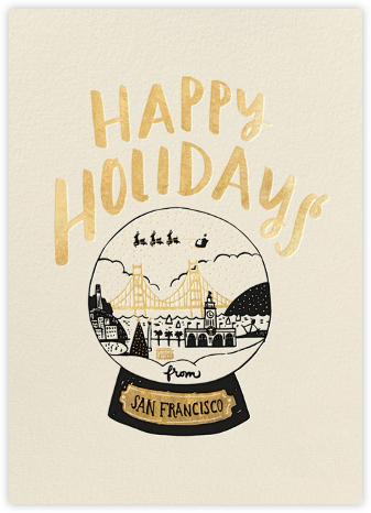 San Francisco Snow Globe - Gold - Hello!Lucky - Holiday Cards