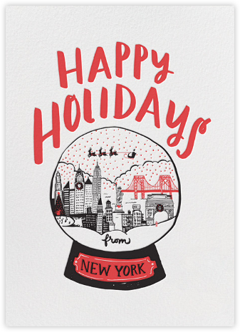 New York Snow Globe - Red - Hello!Lucky - Holiday cards