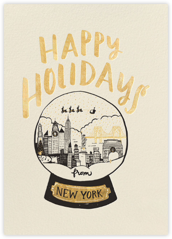 New York Snow Globe - Gold - Hello!Lucky - Holiday Cards