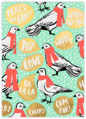 Doves Say Hey - Seafoam - Hello!Lucky - Holiday Cards
