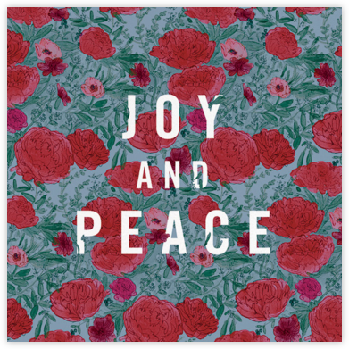 Joy and Peonies  - Paperless Post - Holiday Cards