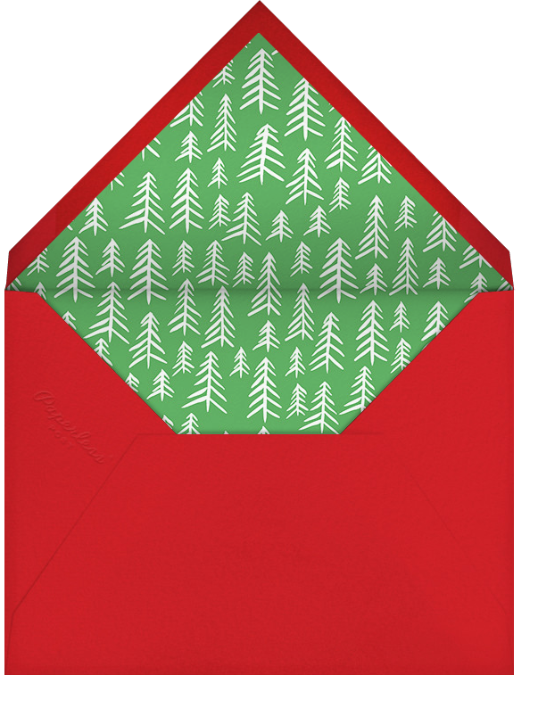 Cursive Merry (Square) - Red - Linda and Harriett - Holiday cards - envelope back