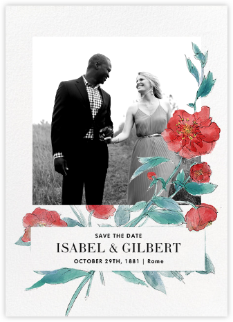 Ikebana (Photo Save the Date) - Red - Paperless Post - Photo save the dates