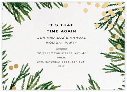 Confetti Branches - Gold - kate spade new york - Holiday party invitations