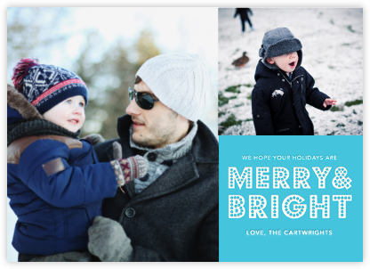 Bright Marquee (Multi-Photo) - Blue - Jonathan Adler - Holiday Cards