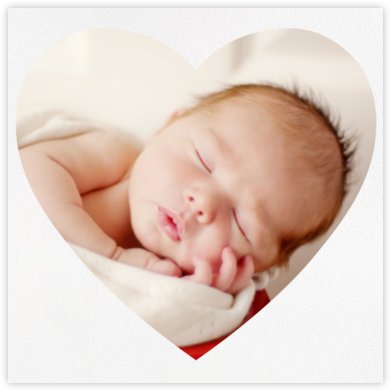 Heart Photo on Square - Two Sided - Paperless Post - Birth Announcements