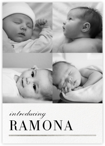 Underscore (Multi-Photo) - Silver - Paperless Post - Birth Announcements