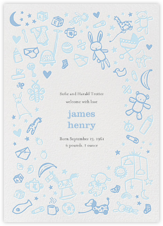 Baby Things - Blue - Hello!Lucky - Birth Announcements