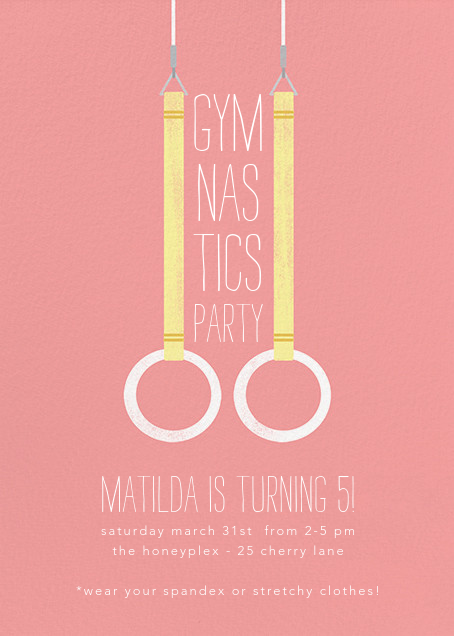 Gymnastic Rings - Blossom - Paperless Post - Kids' birthday invitations