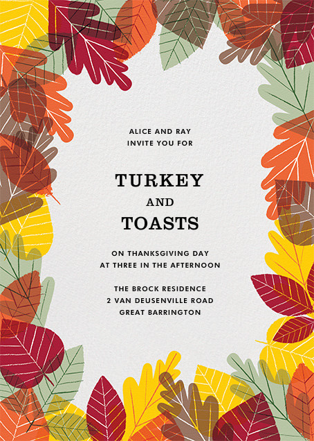 Leaf Pile - Paperless Post - Thanksgiving invitations