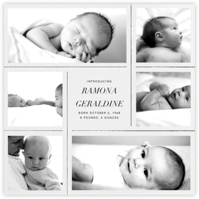 Whitework - Silver - Paperless Post - Birth Announcements