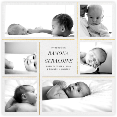 Whitework - Gold - Paperless Post - Birth Announcements