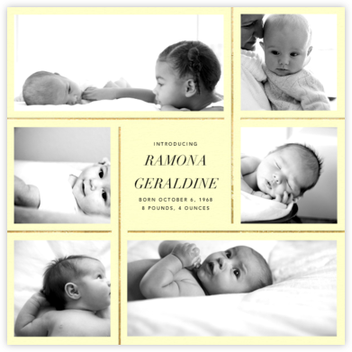 Whitework - Pale Yellow - Paperless Post - Birth Announcements