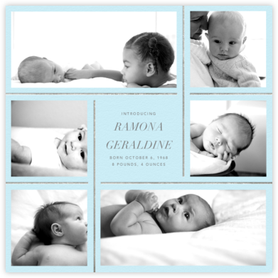 Whitework - Glacier - Paperless Post - Birth Announcements