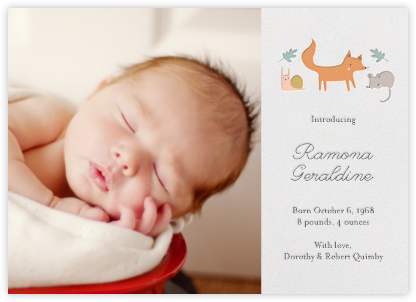 Foxy's Forest Party (Photo) - Little Cube - Birth Announcements