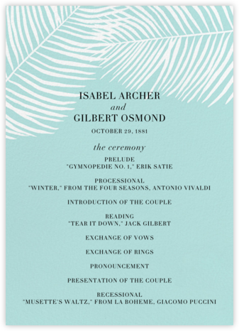 Palmier II (Program) - Caribbean - Paperless Post - Wedding menus and programs - available in paper