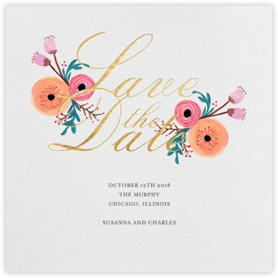 Pocket Full of Cool Flowers (Save the Date) - Paper + Cup - Gold and metallic save the dates