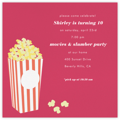 Bucket of Popcorn - Pink - Paperless Post - Kids' Birthday Invitations
