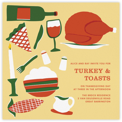 Pies and Thighs - Paperless Post - Thanksgiving invitations