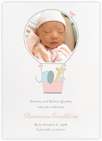 First Flight - Pink - Little Cube - Birth Announcements