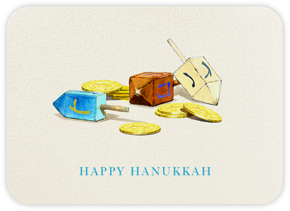 Dreidels and Gelt - Felix Doolittle - Hanukkah Cards