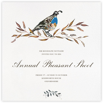 Quail's Tail - Happy Menocal - Sporting Event Invitations