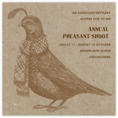 Quail and Scarf - Chipboard - Paperless Post - Sporting Event Invitations