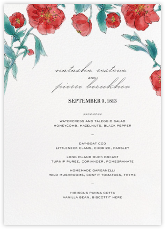 Ikebana (Menu) - Red - Paperless Post - Wedding menus and programs - available in paper