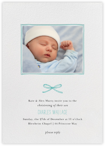 Organic Border - Persian Green - Paperless Post - Christening Invitations