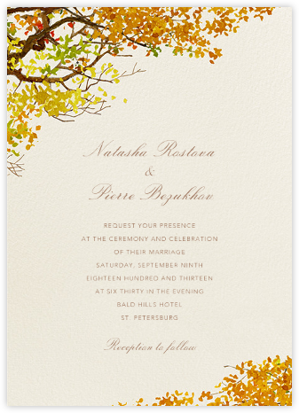 Autumn Boughs - Felix Doolittle - Destination wedding invitations