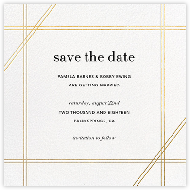 Caning (Save the Date) - Gold - Jonathan Adler - Save the date cards and templates