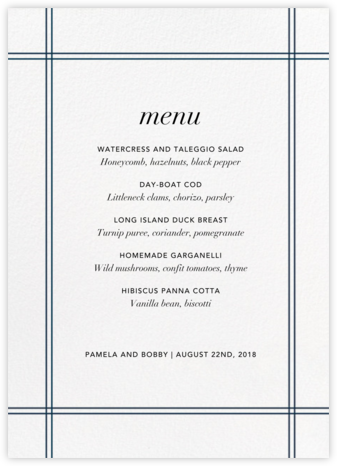 Caning (Menu) - Jonathan Adler - Wedding menus and programs - available in paper