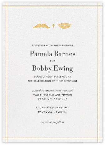 Mr. Stache and Ms. Lips - Gold - Jonathan Adler - Wedding Invitations