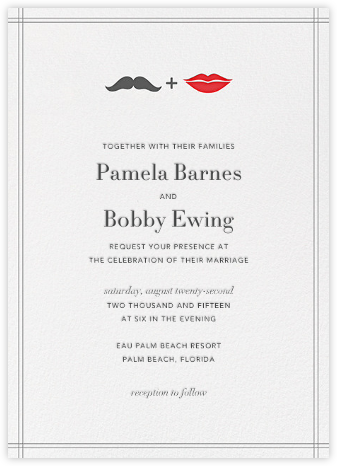 Mr. Stache and Ms. Lips - Gray - Jonathan Adler - Wedding Invitations