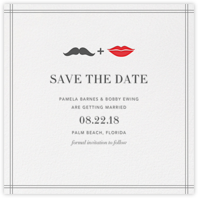 Mr. Stache and Ms. Lips (Save the Date) - Gray | null