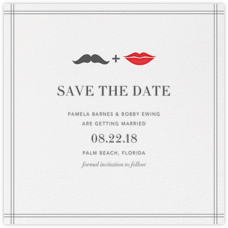 Mr. Stache and Ms. Lips (Save the Date) - Gray