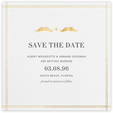 Mr. and Mr. Stache (Save the Date) - Gold - Jonathan Adler - Save the dates