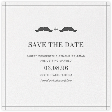 Mr. and Mr. Stache (Save the Date) - Gray | null