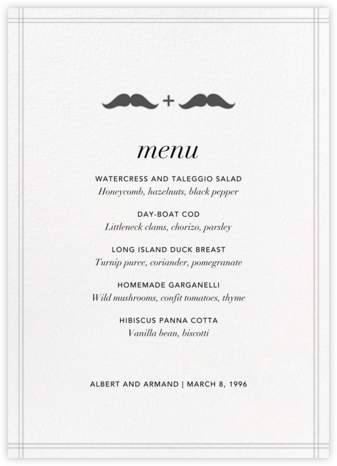 Mr. and Mr. Stache (Menu) | null