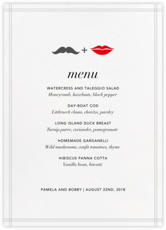 Mr. Stache and Ms. Lips (Menu) | null