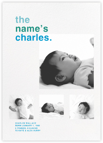 Call Me Baby (Multi-Photo) - Blue - Paperless Post - Birth Announcements