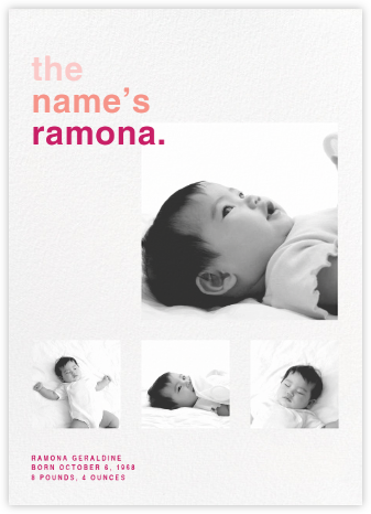 Call Me Baby (Multi-Photo) - Pink - Paperless Post - Birth Announcements