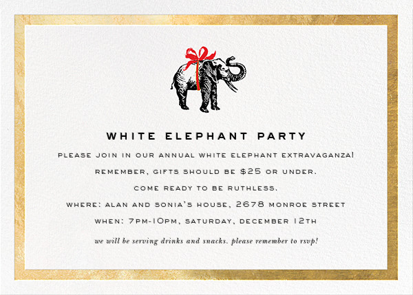 Wrapped Elephant - Gold - kate spade new york - Kate Spade invitations, save the dates, and cards